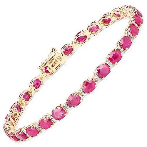 12.43 CTW Ruby & Diamond Bracelet 14K Yellow Gold -