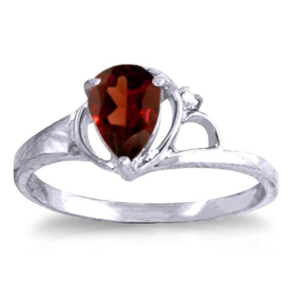 Genuine 0.66 ctw Garnet & Diamond Ring Jewelry 14KT