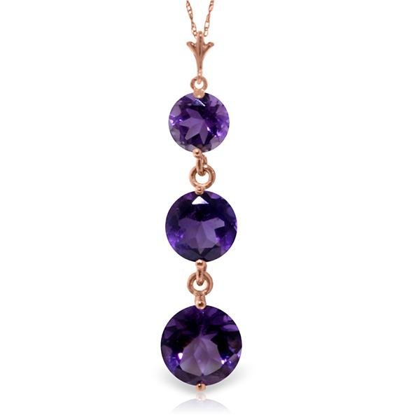 Genuine 3.6 ctw Amethyst Necklace Jewelry 14KT Rose