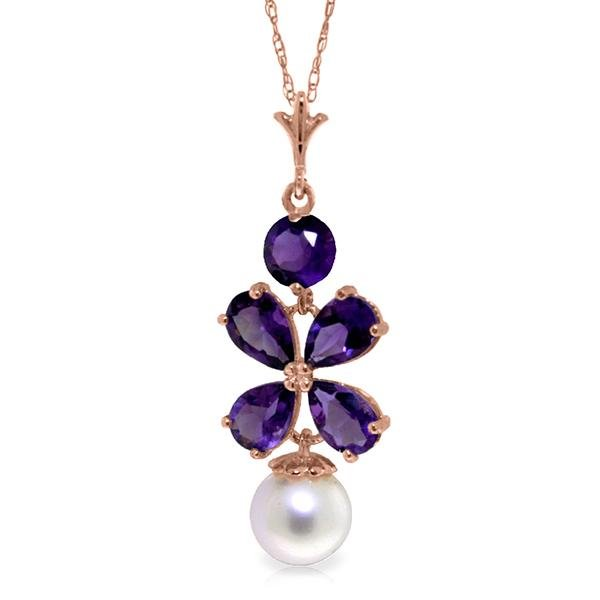 Genuine 3.65 ctw Amethyst & Pearl Necklace Jewelry 14KT