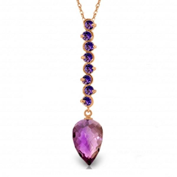 Genuine 11.05 ctw Amethyst Necklace Jewelry 14KT Rose
