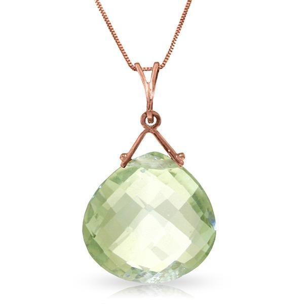 Genuine 8.5 ctw Green Amethyst Necklace Jewelry 14KT
