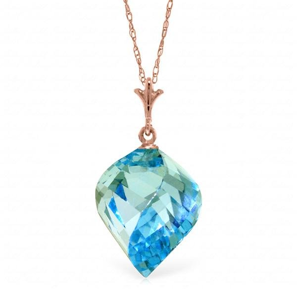 Genuine 13.9 ctw Blue Topaz Necklace Jewelry 14KT Rose