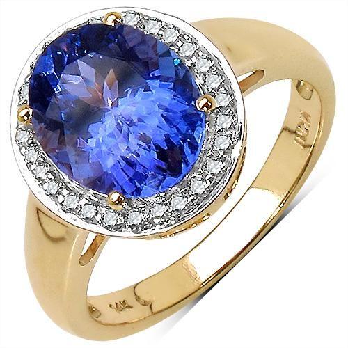 2.80 CTW Tanzanite & Diamond Ring 14K Yellow Gold -