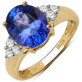 252 CTW Tanzanite  018 CTW Diamond Ring 14K Yellow