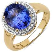 280 CTW Tanzanite  Diamond Ring 14K Yellow Gold