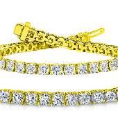 Natural 6.02ct VS-SI Diamond Tennis Bracelet 14K Yellow