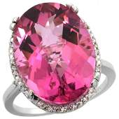 1371 CTW Pink Topaz  Diamond Ring 10K White Gold