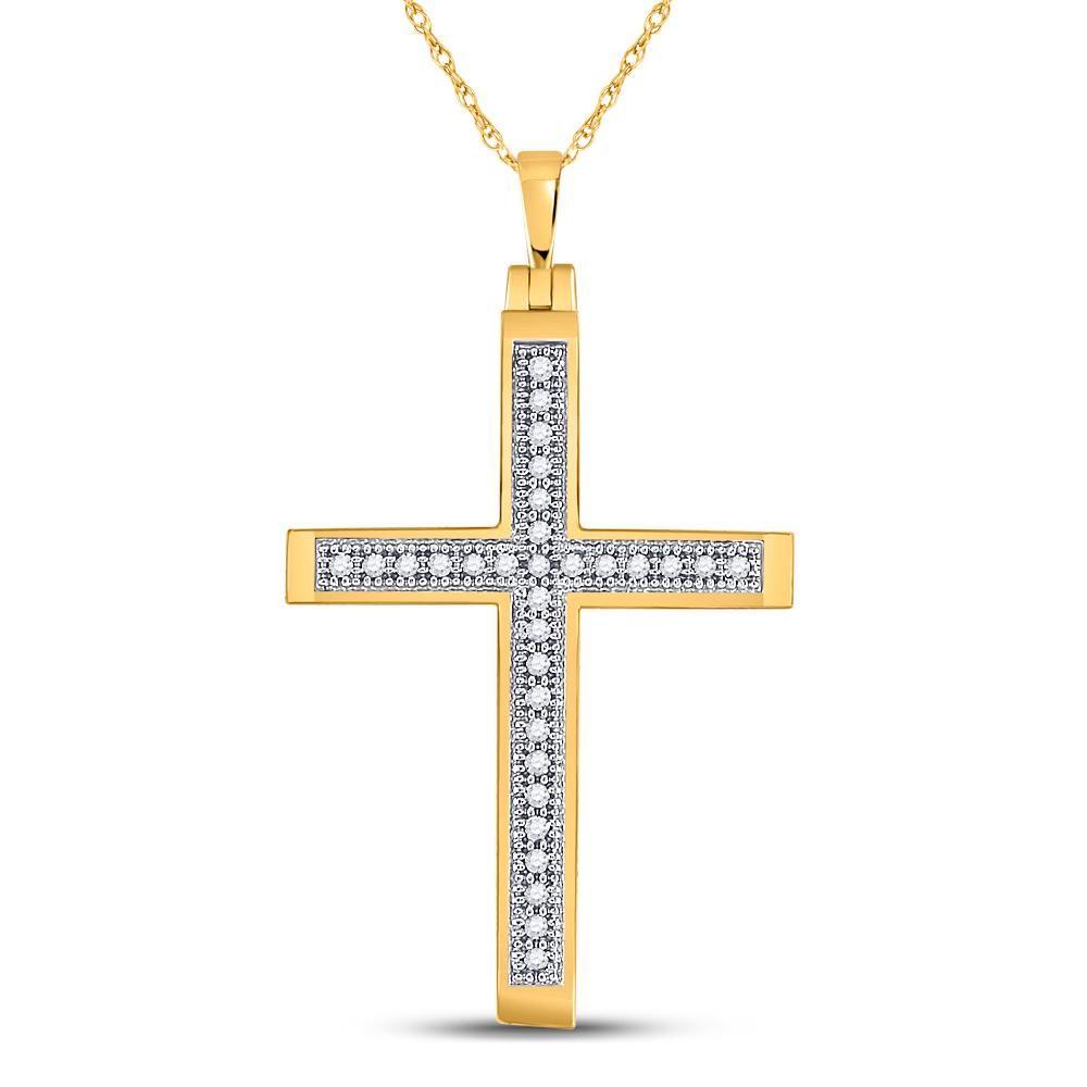0.08 CTW Diamond Cross Pendant 10K Yellow Gold -