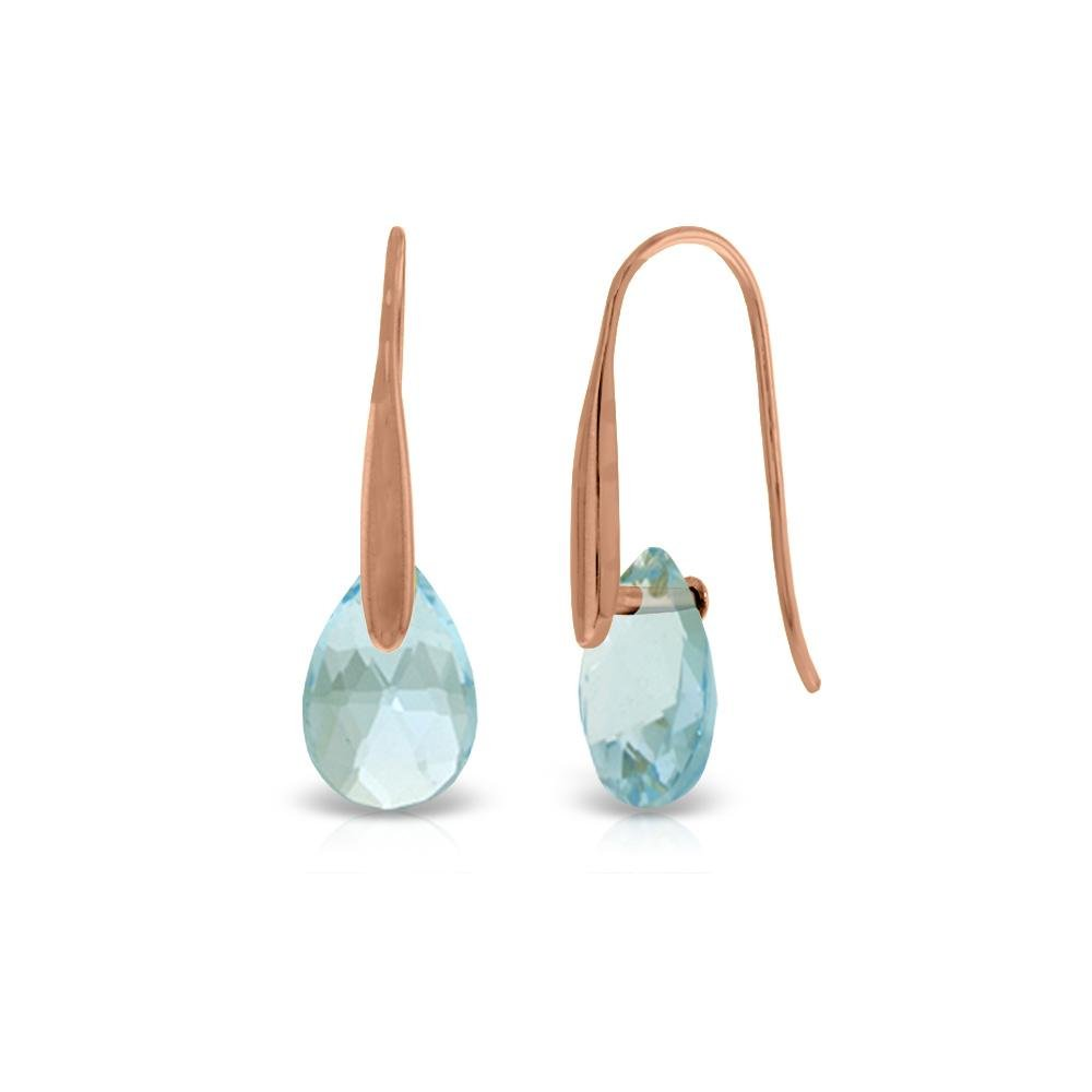 Genuine 6 ctw Blue Topaz Earrings 14KT Rose Gold -