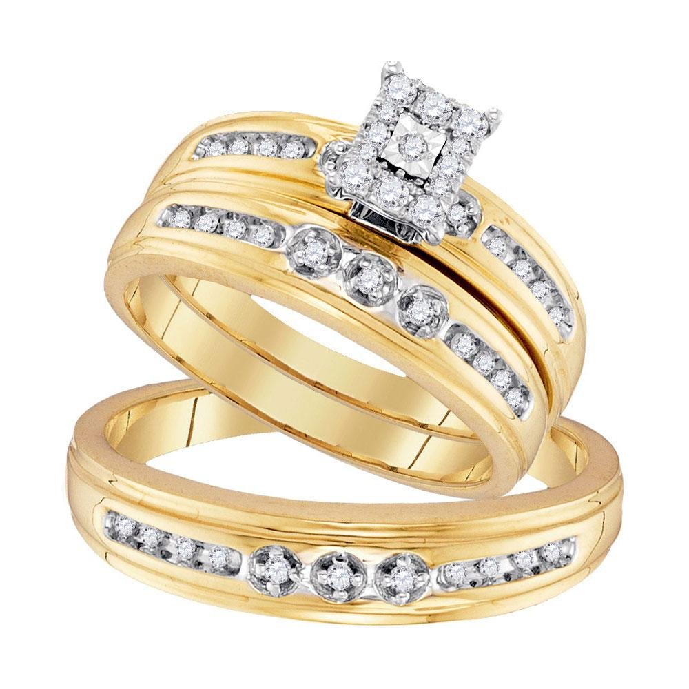 0.30 CTW Diamond Solitaire 3-Ring Set 10K Yellow Gold -