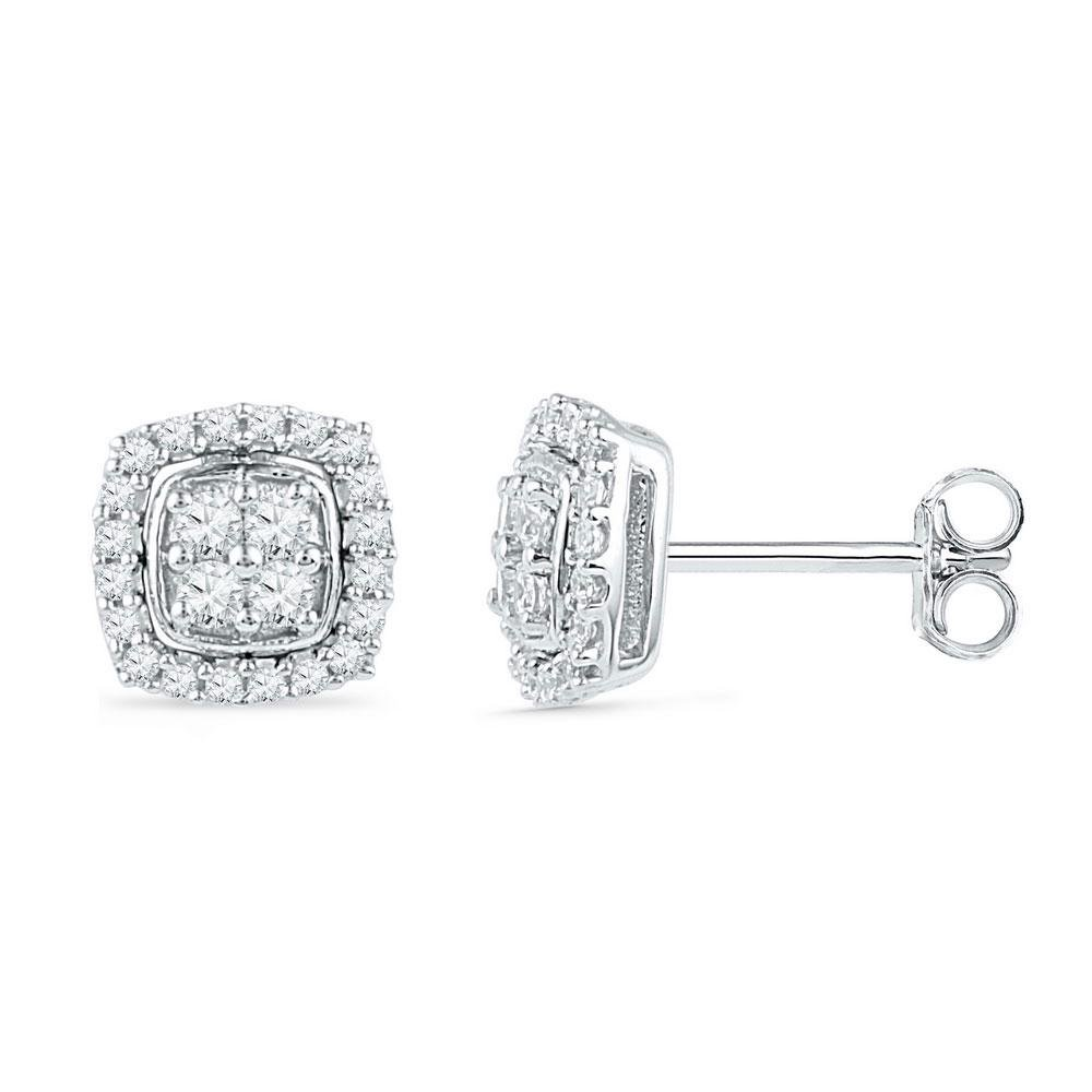 0.25 CTW Diamond Earrings 10K 2-tone Gold - REF-25V6Y