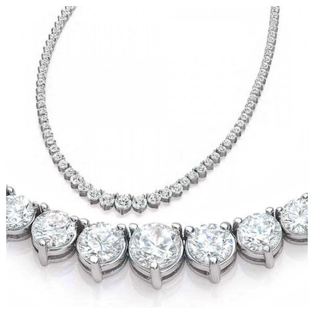 Natural 11.59CTW VS2/I-J Diamond Tennis Necklace 14K