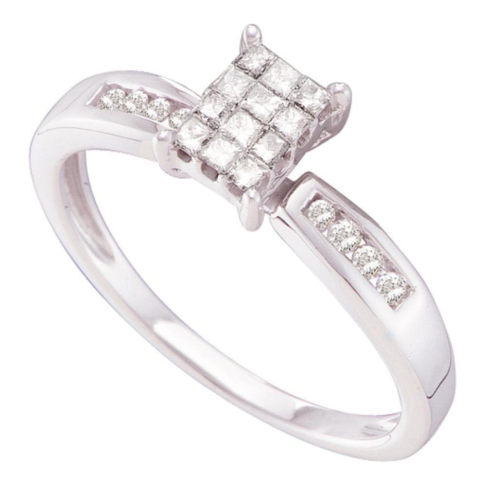 0.25 CTW Diamond Invisible Ring 14K White Gold -