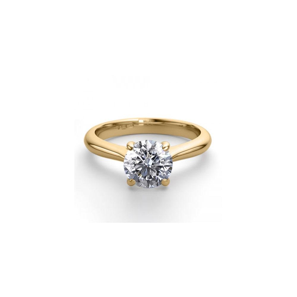 18K Yellow Gold 0.83 ctw Natural Diamond Solitaire Ring