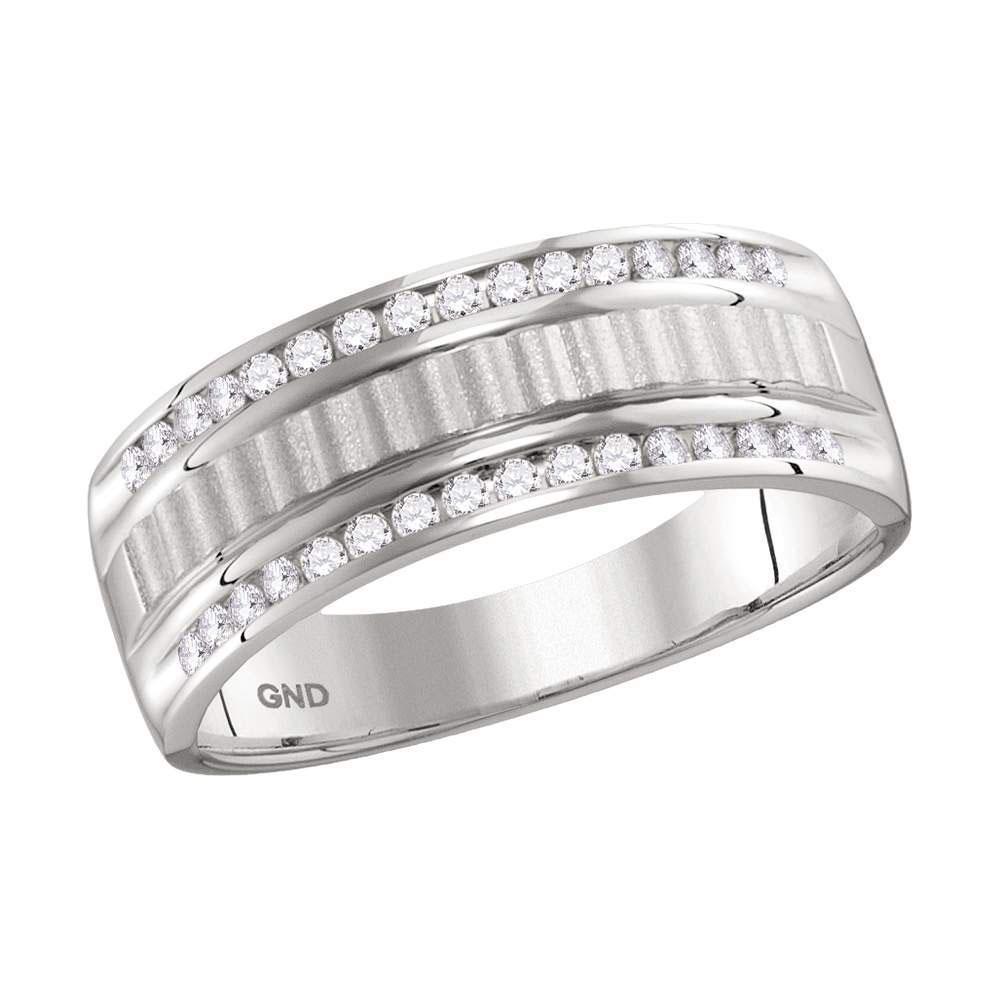 0.33 CTW Diamond Textured Ring 14K White Gold -