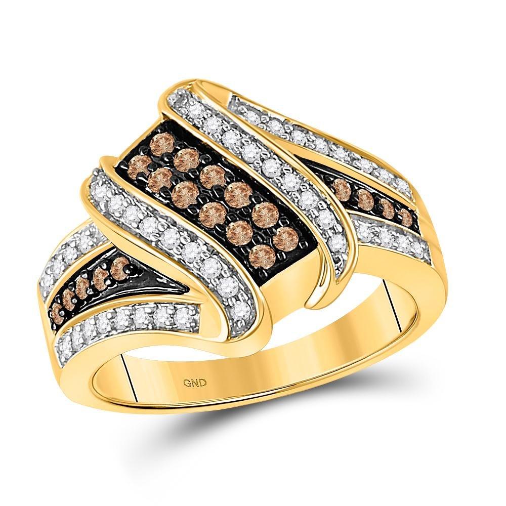 0.55 TCW Brown Diamond & White Diamond Crossover Ring