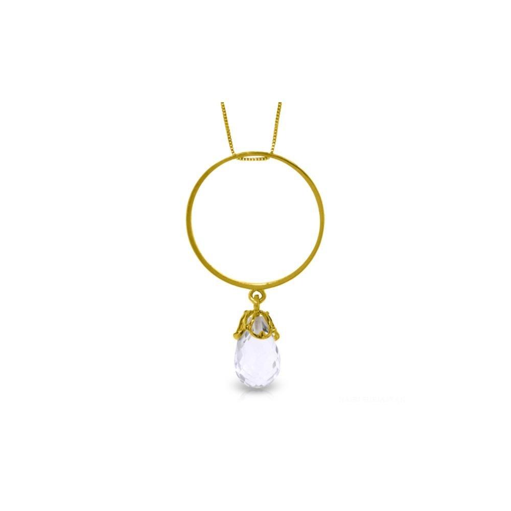 Genuine 3 ctw White Topaz Necklace 14KT Yellow Gold -