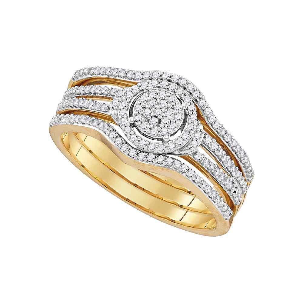 0.32 CTW Diamond Ring 10K Yellow Gold - REF-40X3R