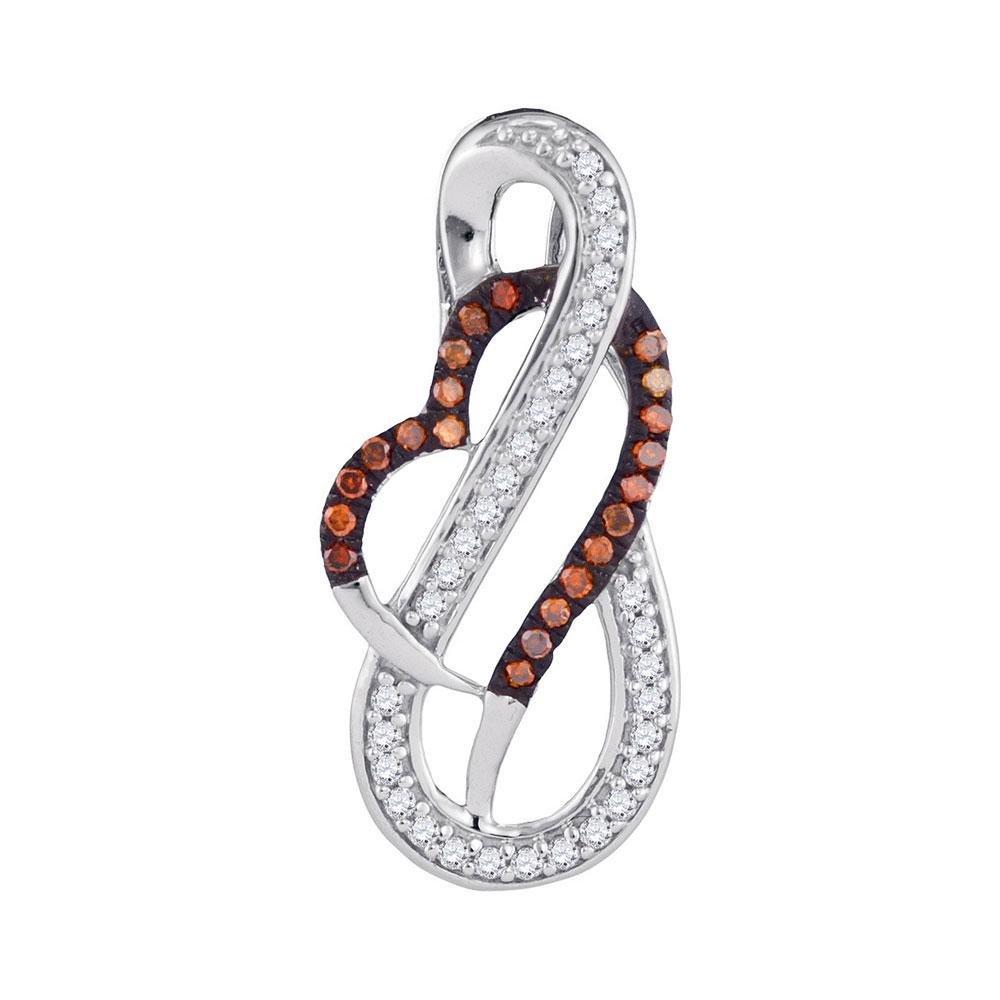 0.12 TCW Red Diamond & White Diamond Infinity Heart