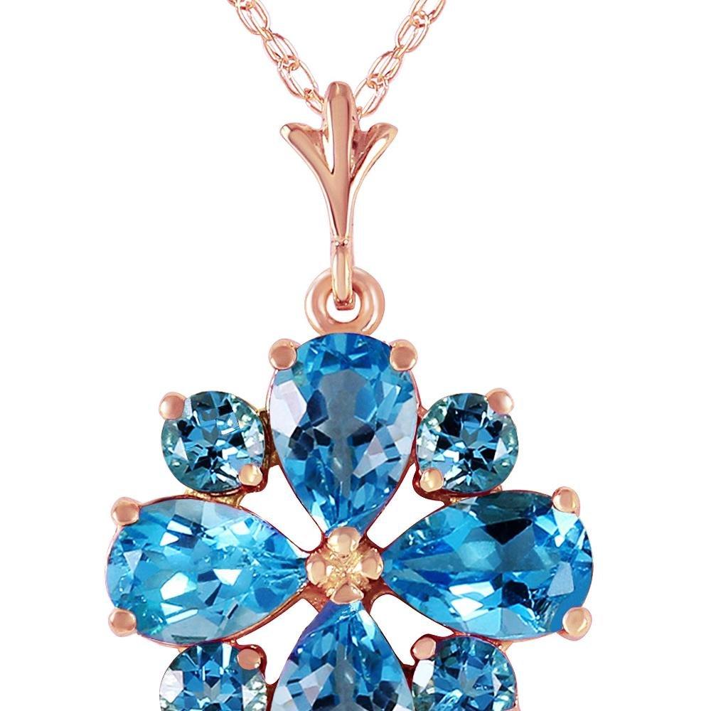 Genuine 2.43 ctw Blue Topaz Necklace 14KT Rose Gold -
