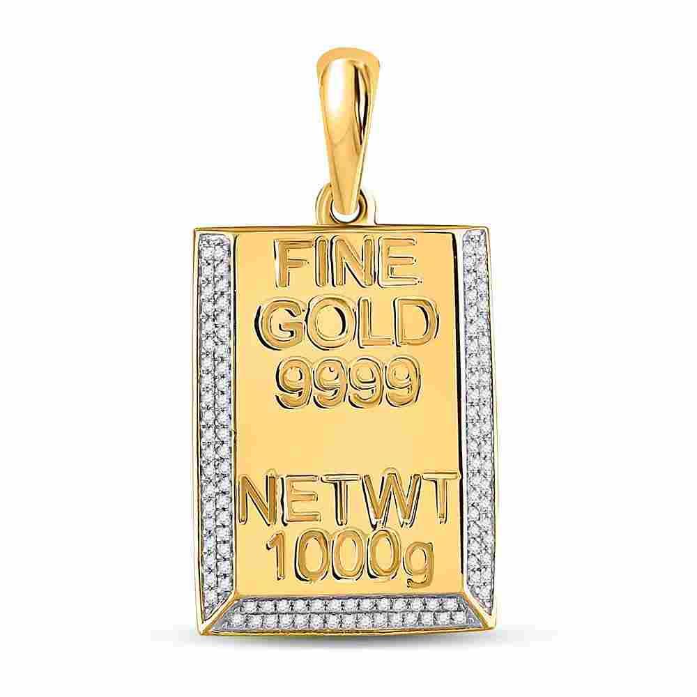 0.44 CTW Diamond Kilo Gold Bar Pendant 10K Yellow Gold
