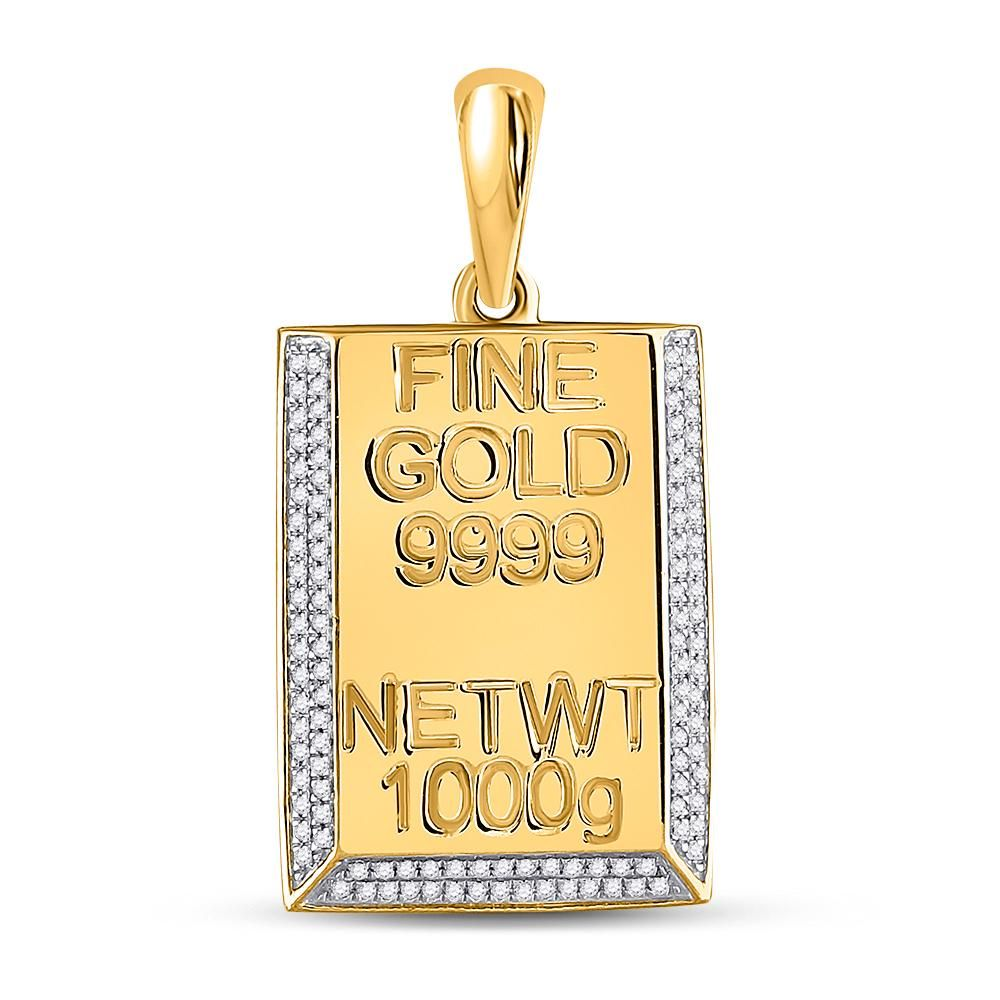 0.44 CTW Diamond Kilo Gold Bar Pendant 10K Yellow Gold