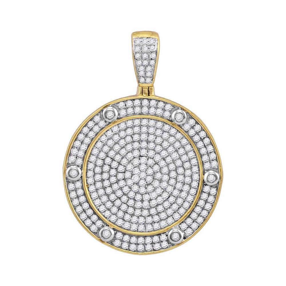 1.5 CTW Diamond Circle Medallion Pendant 10K Yellow