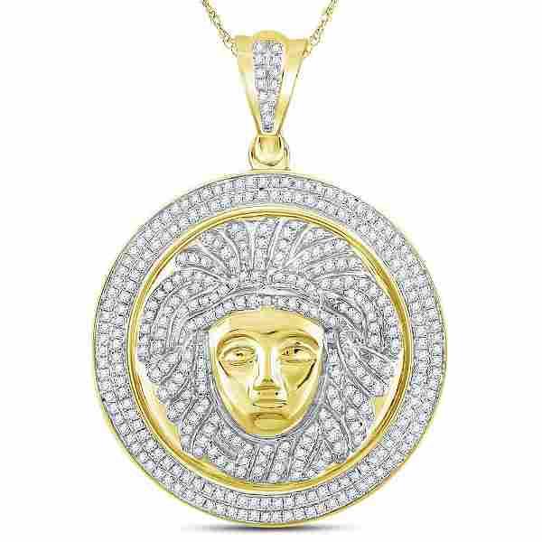 1 CTW Diamond Gorgon Medusa Circle Medallion Pendant