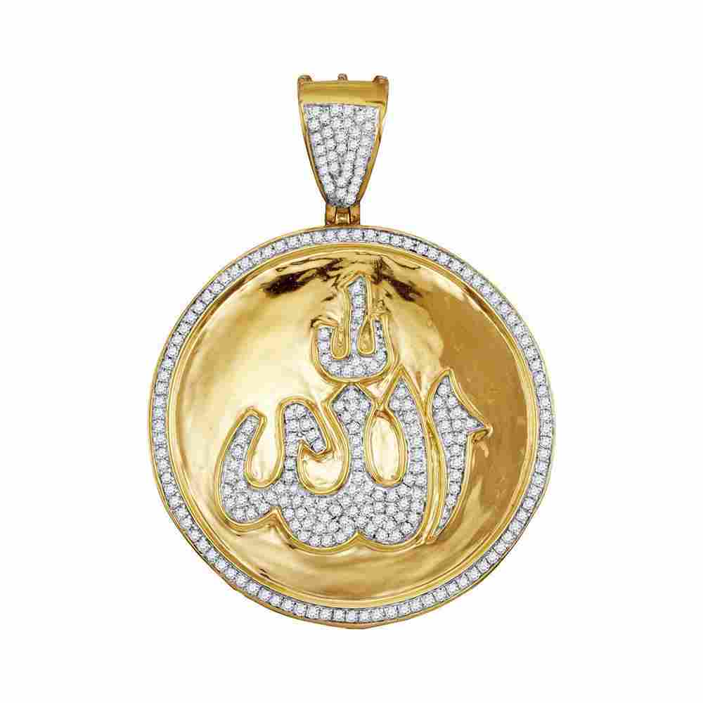 0.70 CTW Diamond Allah Medallion Pendant 10K Yellow