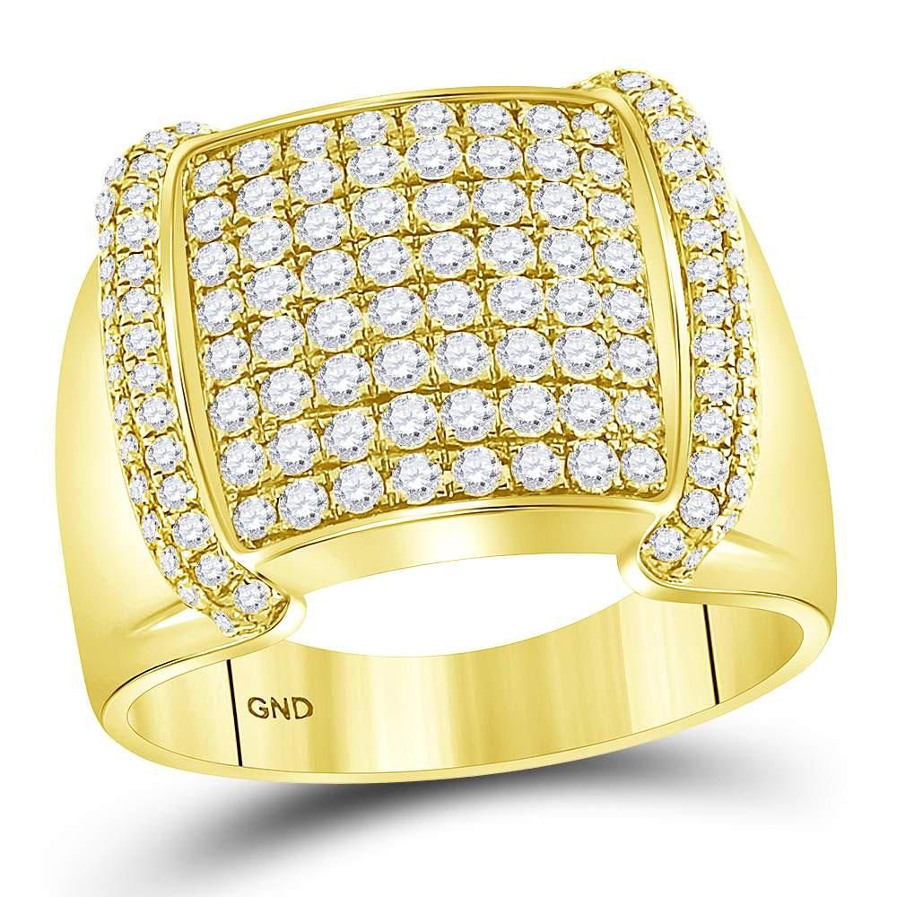 1.75 CTW Diamond Mens Ring 14K Yellow Gold - REF-184A4V