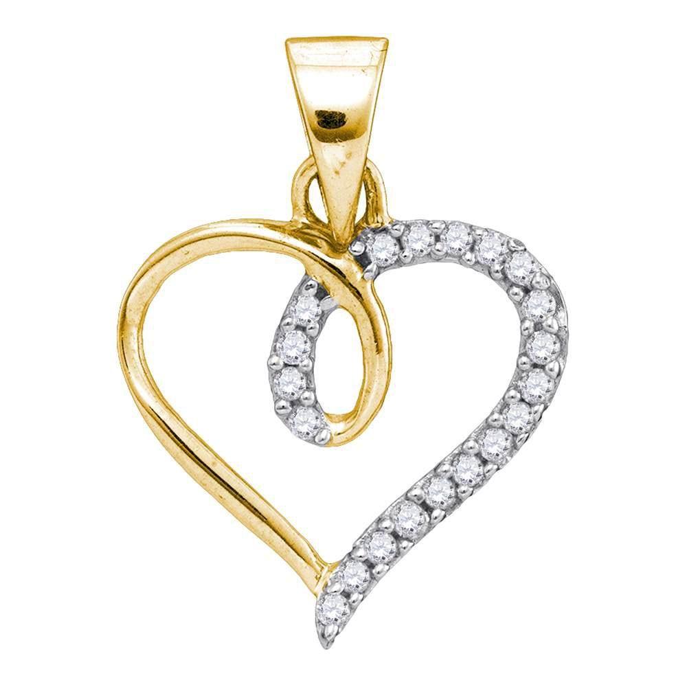 0.10 CTW Diamond Heart Pendant 10K Yellow Gold -