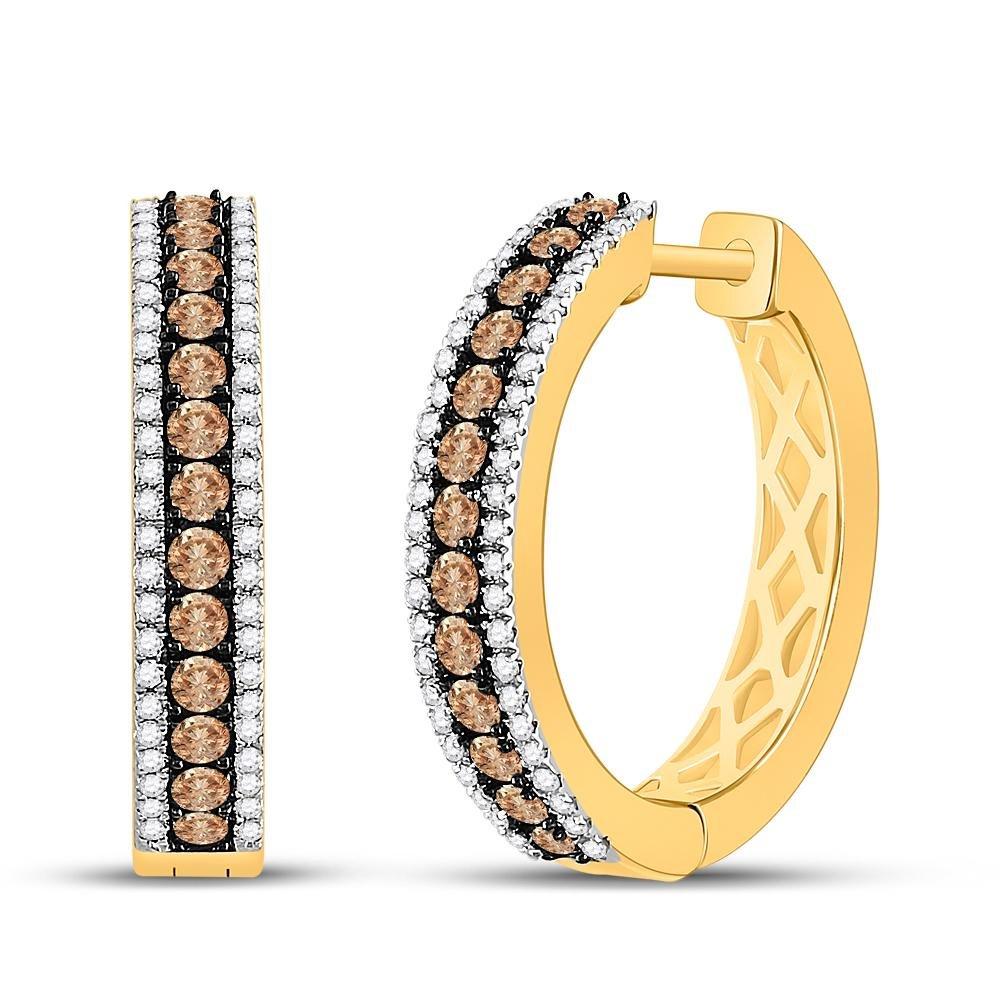 1.01 TCW Brown Diamond & White Diamond Hoop Earrings