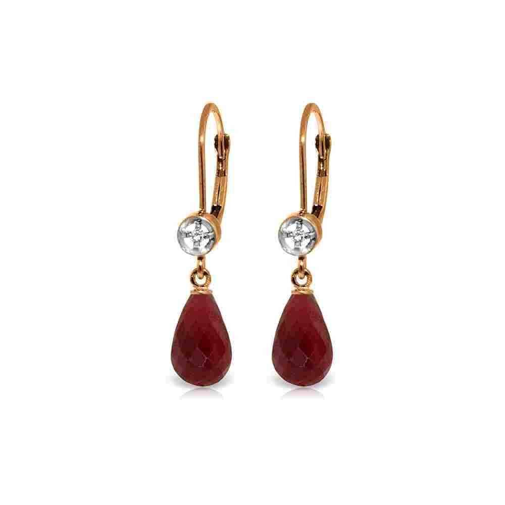 Genuine 6.63 ctw Ruby & Diamond Earrings 14KT Rose Gold