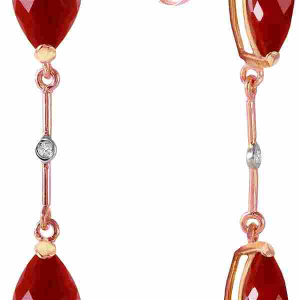 Genuine 7.01 ctw Ruby & Diamond Earrings 14KT Rose Gold