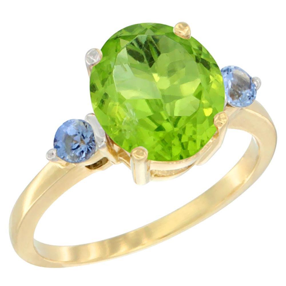 3.02 CTW Peridot & Blue Sapphire Ring 14K Yellow Gold -