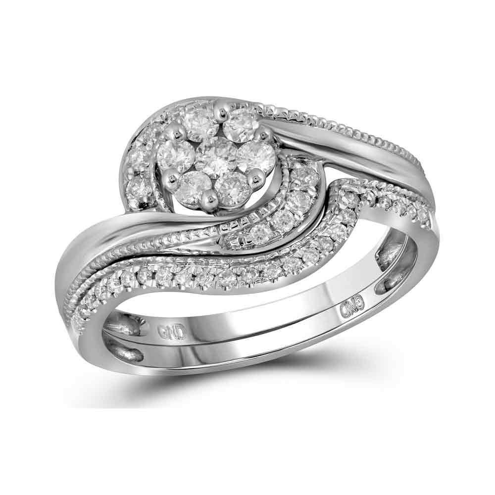 Diamond Bridal Wedding Engagement Ring Band Set 3/8