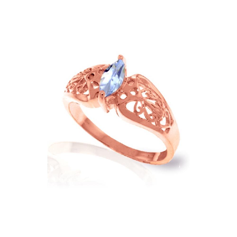Genuine 0.20 CTW Aquamarine Ring 14KT Rose Gold -