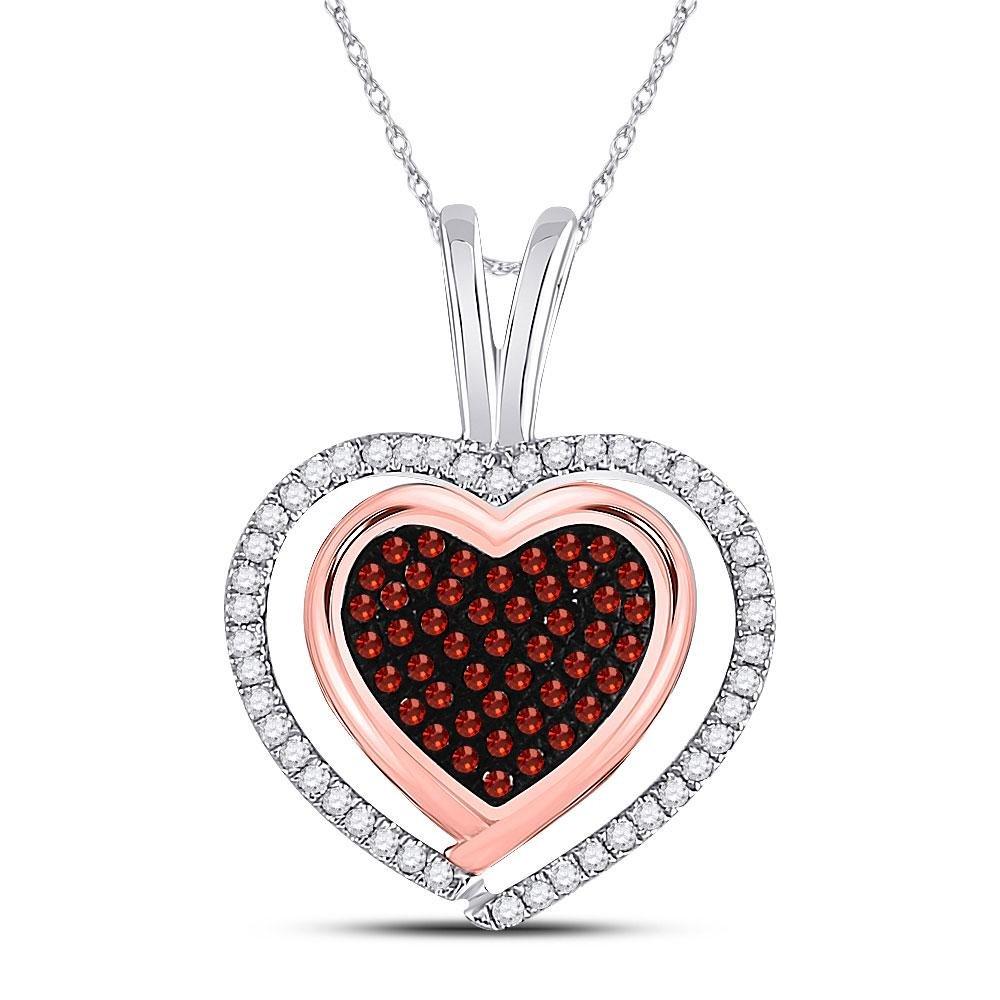 Round Red Color Enhanced Diamond Heart Pendant 1/4 Cttw