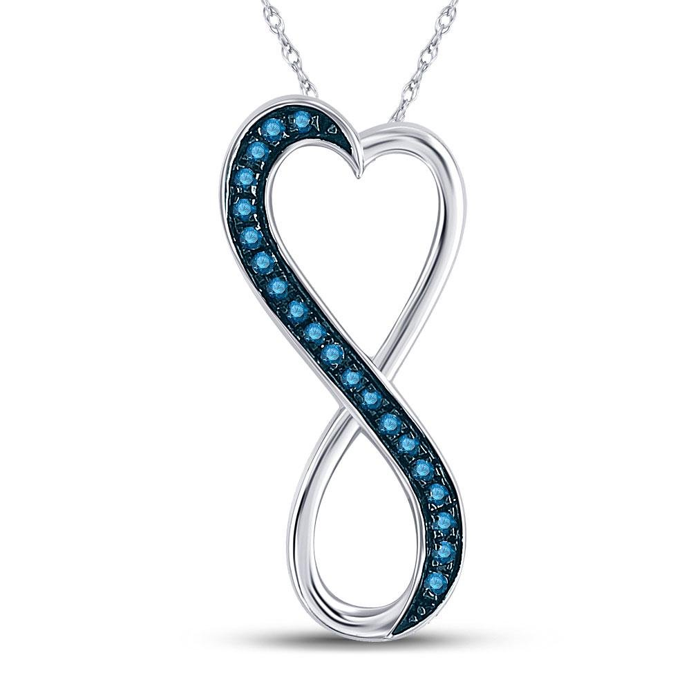 Round Blue Color Enhanced Diamond Heart Infinity
