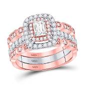 Emerald Diamond 3Piece Bridal Wedding Ring Band Set