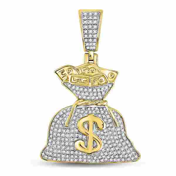Mens Diamond Money Bag Dollar Charm Pendant 1/2 Cttw