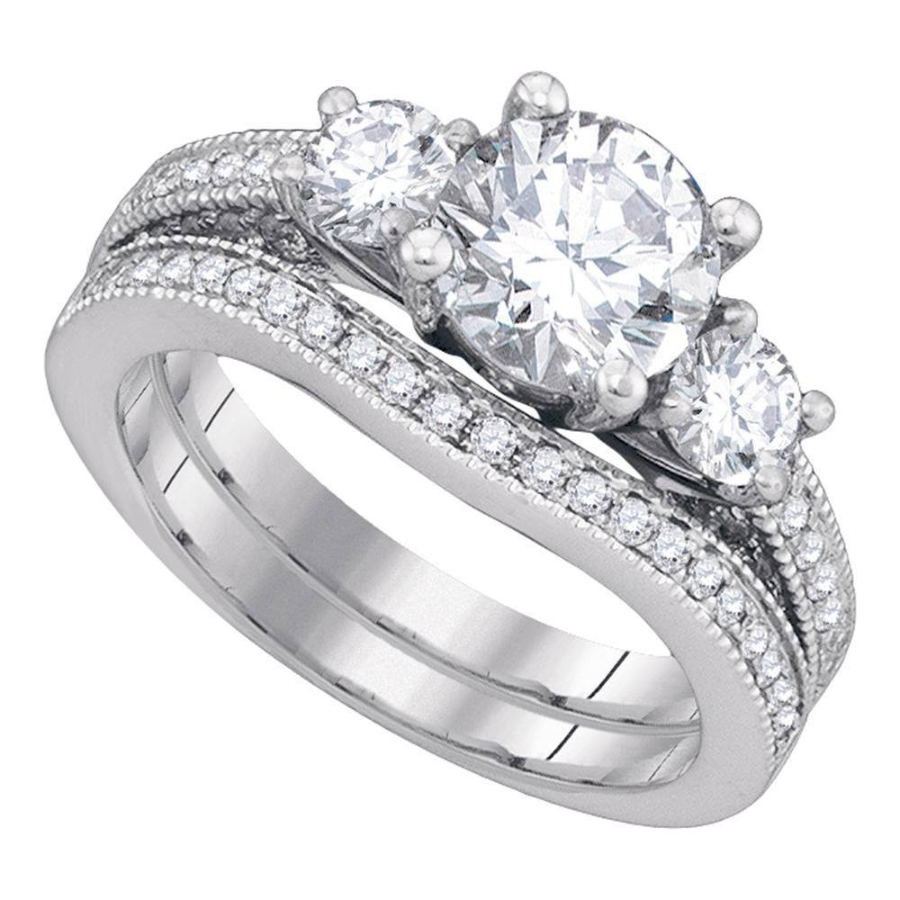 Diamond Bridal Wedding Engagement Ring Band Set 2-1/2