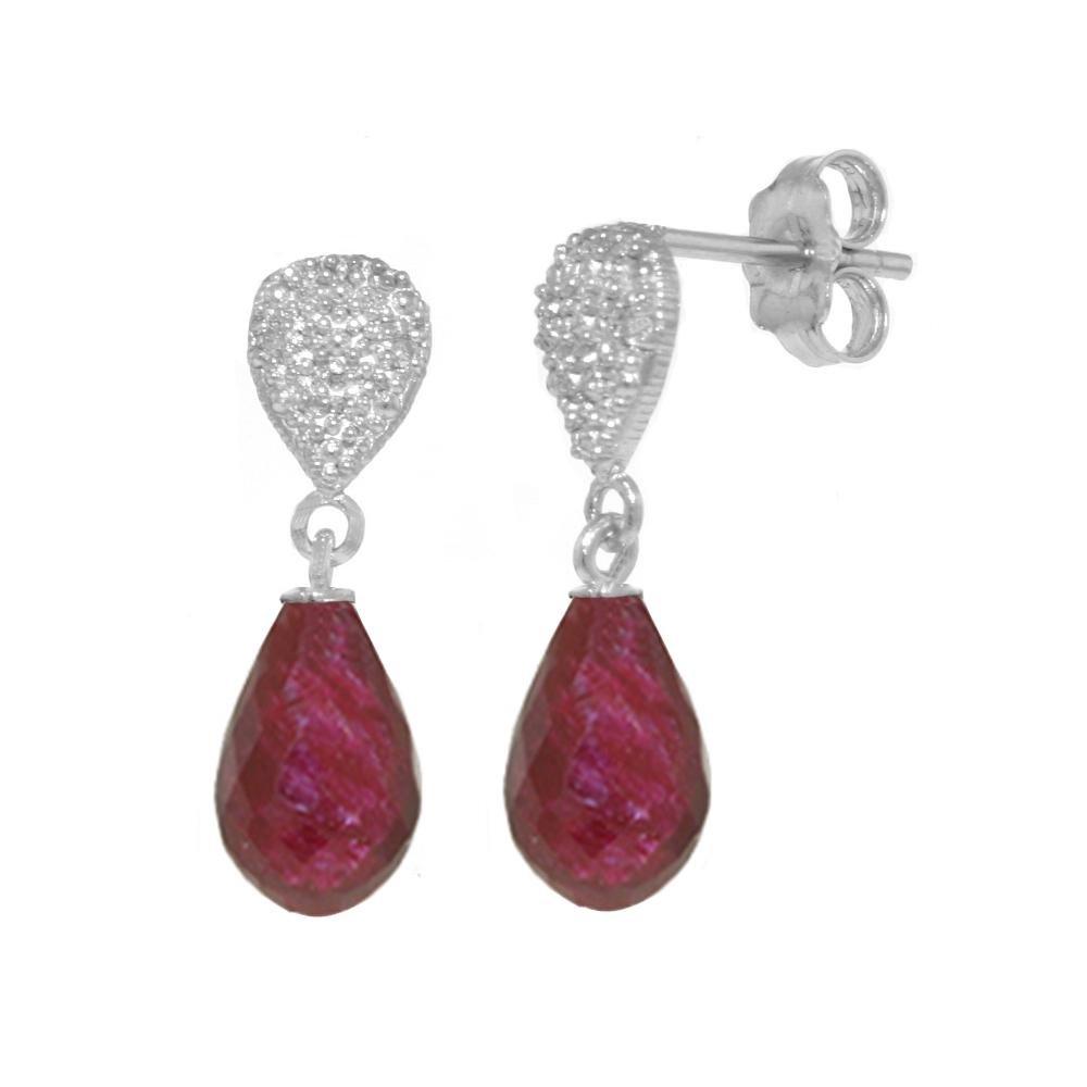 Genuine 6.63 ctw Ruby & Diamond Earrings 14KT White