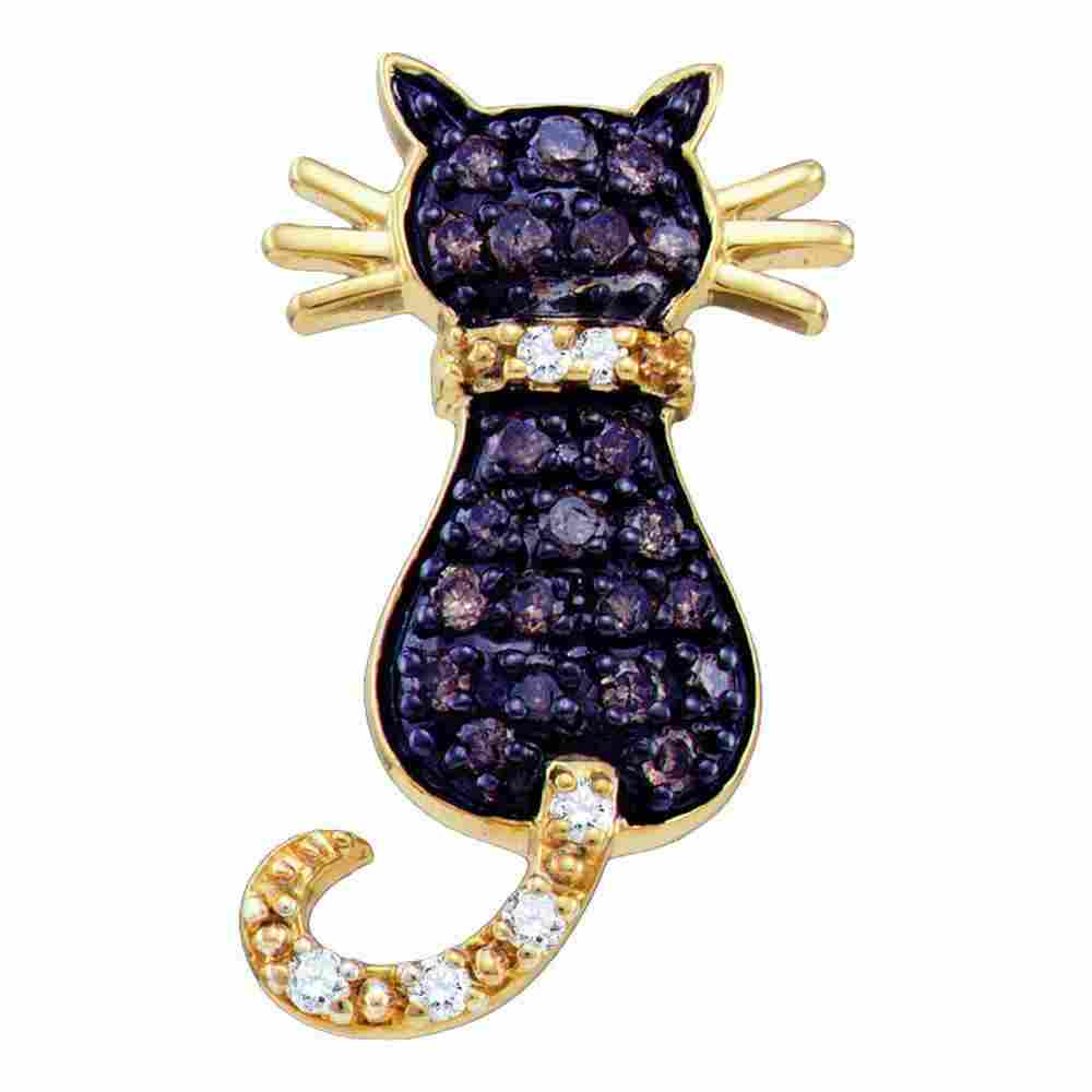 Brown Diamond Kitty Cat Pendant 1/3 Cttw 10k Yellow