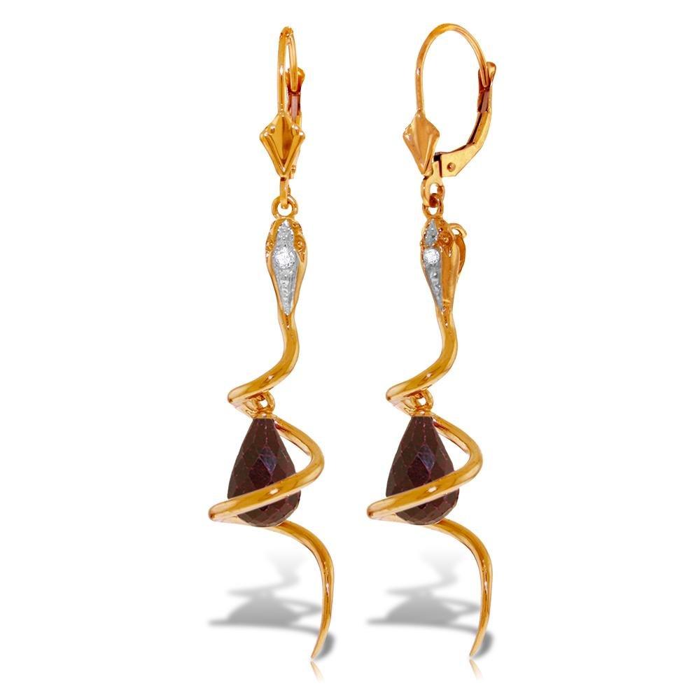 Genuine 6.66 ctw Ruby & Diamond Earrings 14KT Rose Gold