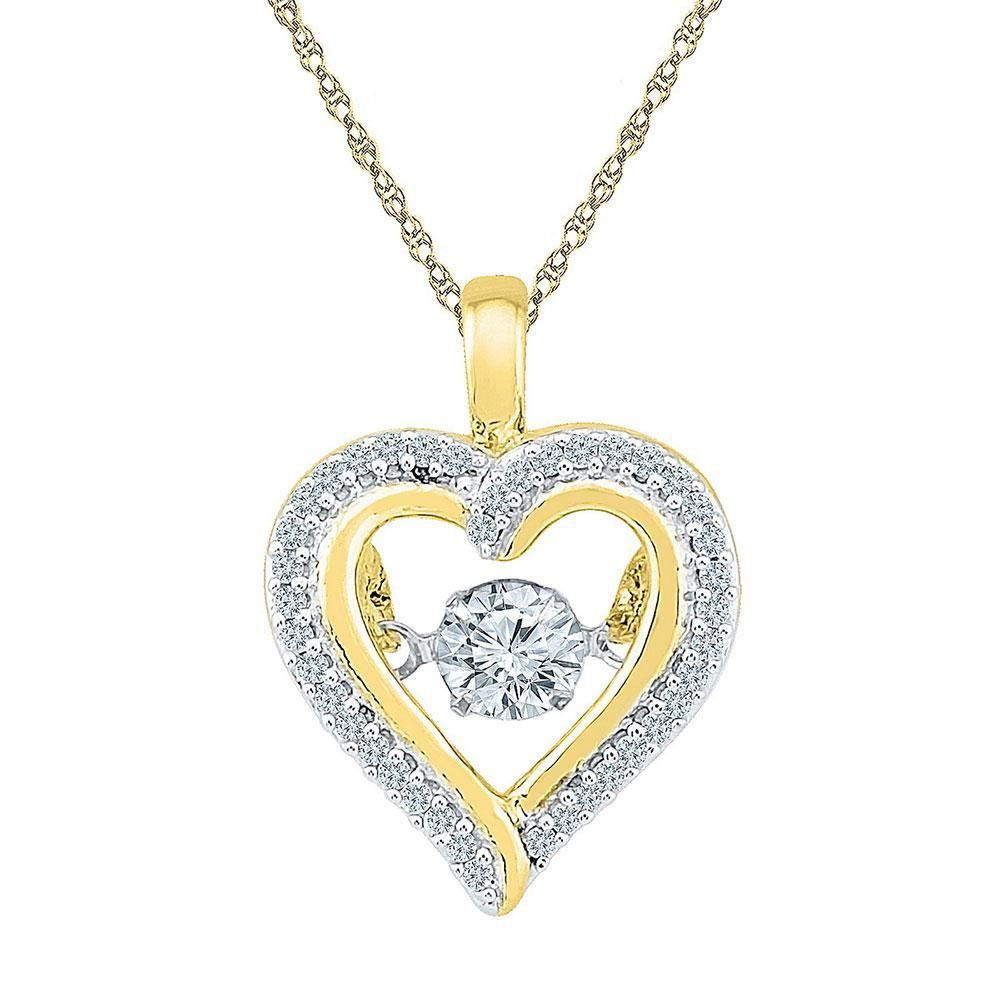 Round Moving Twinkle Diamond Heart Outline Pendant 1/4