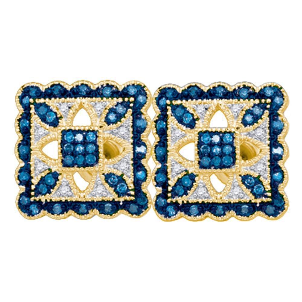 Round Blue Color Enhanced Diamond Square Cluster