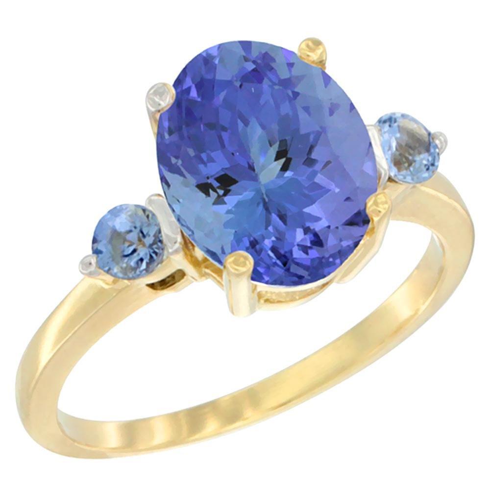 2.63 CTW Tanzanite & Blue Sapphire Ring 10K Yellow Gold