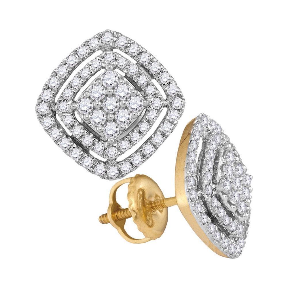 Diamond Square Frame Cluster Earrings 1/2 Cttw 14kt